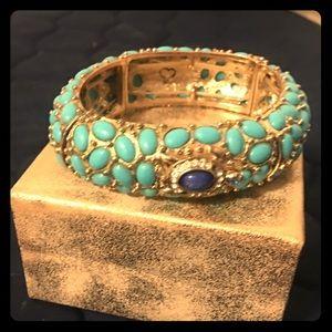 Stunning! Turquoise & Gold Stretch Cuff Bracelet